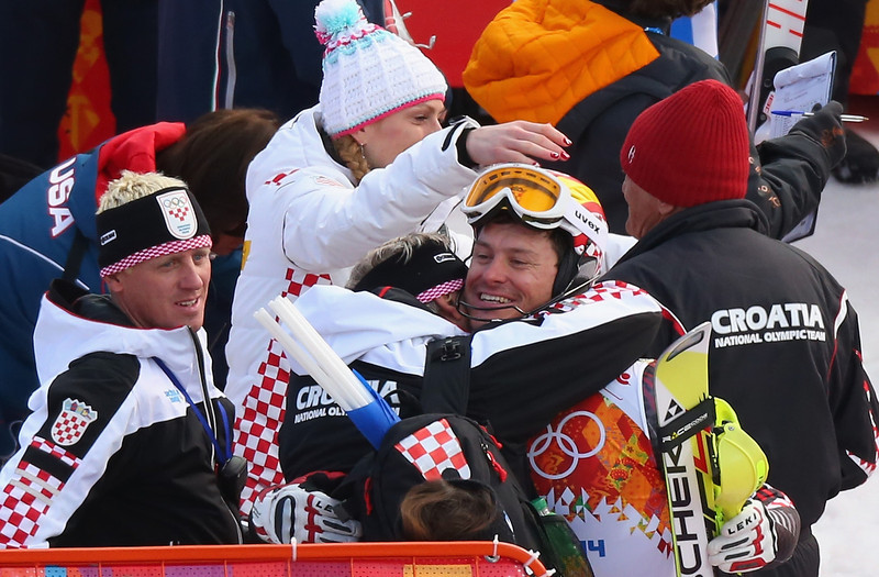 . Ivica Kostelic of Croatia celebrates with his coach during the Alpine Skiing Men\'s Super Combined Downhill on day 7 of the Sochi 2014 Winter Olympics at Rosa Khutor Alpine Center on February 14, 2014 in Sochi, Russia.  (Photo by Alexander Hassenstein/Getty Images)