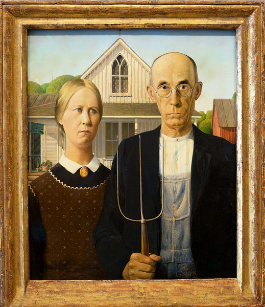 "Grant Woods most famous work, ""American Gothic,"" painted the year I was born, 1930."