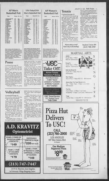 Daily Trojan, Vol. 127, No. 7, January 23, 1996