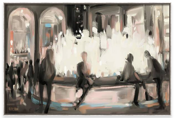 Painting of Lincoln Center Plaza New York City at night by artist Beverly Brown