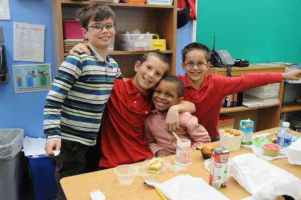 Lunchtime with Kindergarten and Fourth-Grade Buddies