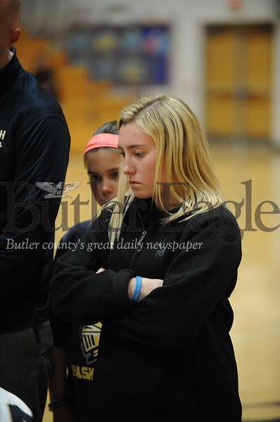 Knoch coach looks in during a time-out during a game at Knoch Gym on Monday January 13, 2020 (Jason Swanson photo)