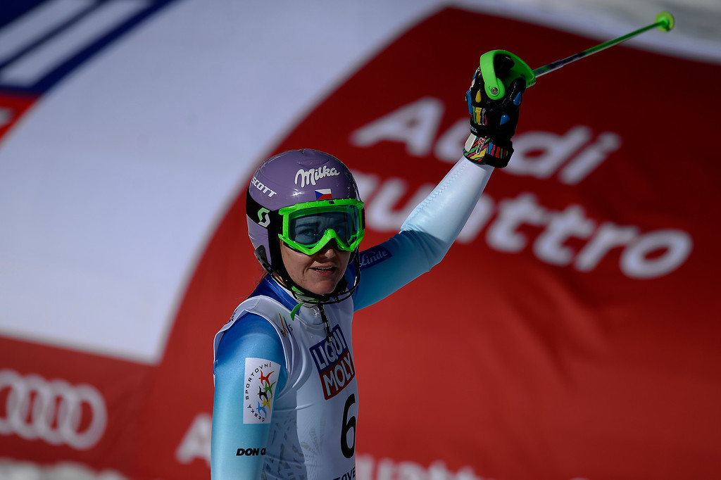 . Sarka Strachova of the Czech Republic reacts to her run during the ladies\' slalom. FIS Alpine World Ski Championships 2015 on Saturday, February 14, 2015. (Photo by AAron Ontiveroz/The Denver Post)