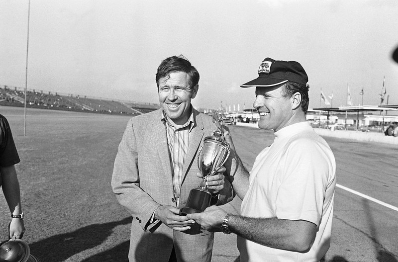 . A.J. Foyt, of Houston, Texas after he drove his 1971 Mercury at a speed of 182.744 miles per hour to win the pole position for the Daytona 500 late model stock car race to be run at the Daytona International Speedway on February 14. Foyt received $5,000 and a trophy for his two lap drive on Feb. 6, 1971. (AP Photo)