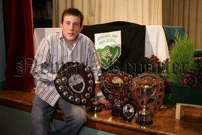 Rathfriland High School prize night award winner Kyle heslip with his haul of awards. 48-32-06.