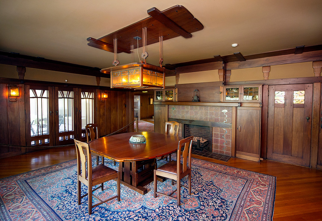 """. Dining room at the Gamble House Tuesday, July 16, 2013. The dining room will NOT BE PART OF THE \""""UPSTAIRS/DOWNSTAIRS\"""" tour.  Fans of the BBC�s �Upstairs/Downstairs� and �Downton Abbey� can get a rare, behind-the-scenes look at the real deal when the Gamble House, located at  4 Westmoreland Place in Pasadena. The Gamble House opens up its servants quarters for three weeks only, beginning Aug. 1. The tour is based on new findings about the Gamble family and its servants. Part of the first floor will be closed on the tour due to renovations.(SGVN/Photo by Walt Mancini)"""