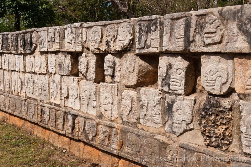 Tzompantli or the Platform of Skulls, Chichen Itza