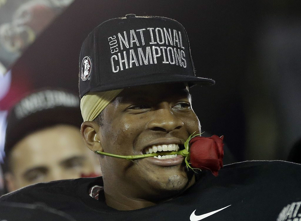". 7. (tie) FLORIDA STATE SEMINOLES <p>No. 1 in the nation in season-opening poll. �Free� crab legs for everyone! (unranked) </p><p><b><a href=""http://www.usatoday.com/story/sports/ncaaf/2014/07/31/amway-coaches-poll-florida-state-no-1/13366343/\"" target=\""_blank\""> LINK </a></b> </p><p>    (AP Photo/David J. Phillip)</p>"