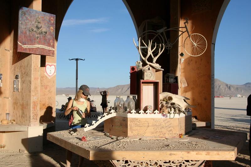 Oil, bicycle, antlers, skull
