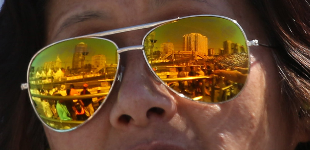 . A fan takes in the  41st Toyota Grand Prix of Long Beach, Sunday April 19th, 2015. Chuck Bennett/Staff Photographer.