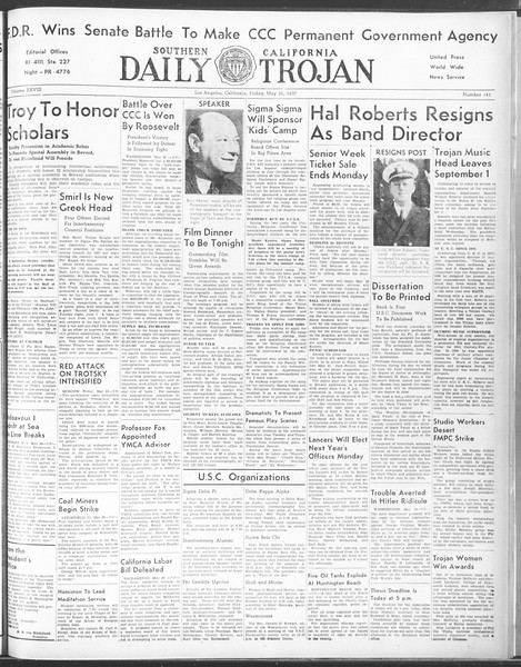 Daily Trojan, Vol. 28, No. 141, May 21, 1937