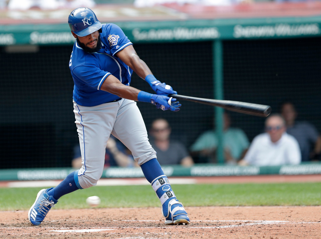 . Kansas City Royals\' Jorge Bonifacio strikes out swinging in the seventh inning of a baseball game against the Cleveland Indians, Wednesday, Sept. 5, 2018, in Cleveland. (AP Photo/Tony Dejak)