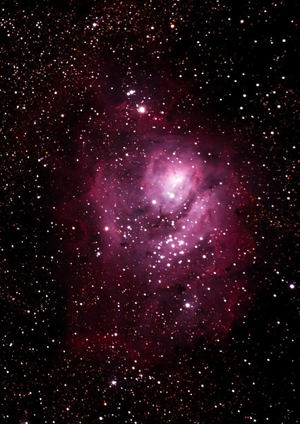 Messier M8 - NGC6523 - Gum 72 - Lagoon Nebula and Cluster - 7/5/2011 (Re-processed cropped stack)