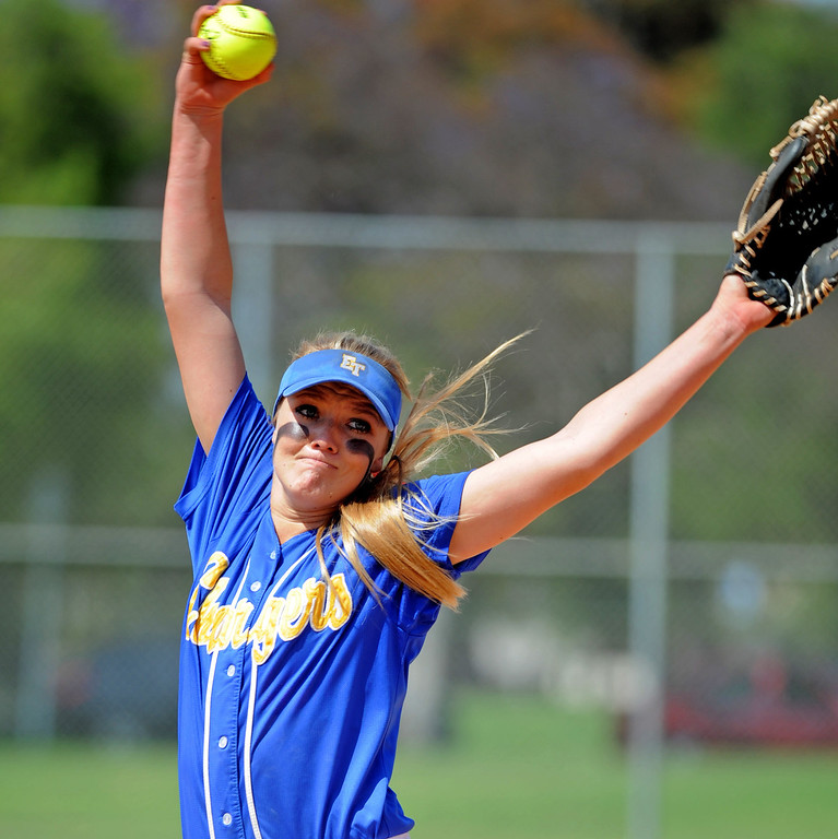 . 05-16-2013-( Daily Breeze Staff Photo by Sean Hiller) Wilson vs. El Toro in the opening round of the CIF-SS D2 playoffs Thursday at Joe Rodgers Field in Long Beach. Lauren Hammond pitches for El Toro.