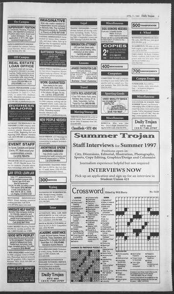 Daily Trojan, Vol. 130, No. 56, April 11, 1997