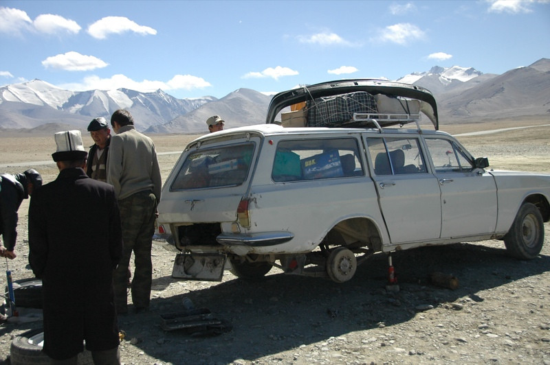 Car Breaking Down along Pamir Highway, Tajikistan