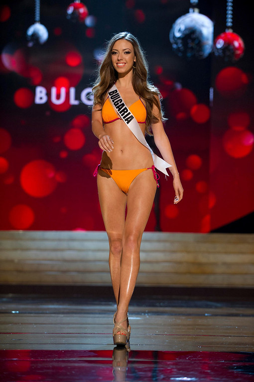 . Miss Bulgaria Zhana Yaneva competes in her Kooey Australia swimwear and Chinese Laundry shoes during the Swimsuit Competition of the 2012 Miss Universe Presentation Show at PH Live in Las Vegas, Nevada December 13, 2012. The 89 Miss Universe Contestants will compete for the Diamond Nexus Crown on December 19, 2012. REUTERS/Darren Decker/Miss Universe Organization/Handout