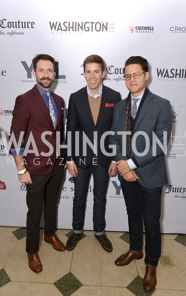 James Majewski, Andrew Carlton, Philip Soriano, Washington Life Magazine hosts the 8th Annual Young and the Guest List party at the Carnegie Library.  Photo by Ben Droz.