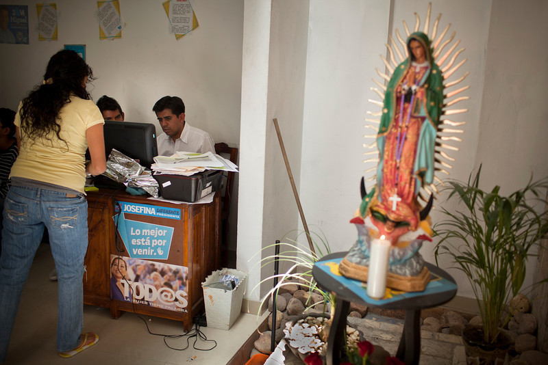 The Virgin of Guadalupe is perhaps Mexico's most important cultural symbol, her ubiquity can be found almost everywhere, including the PAN campaign headquarters in San Miguel.