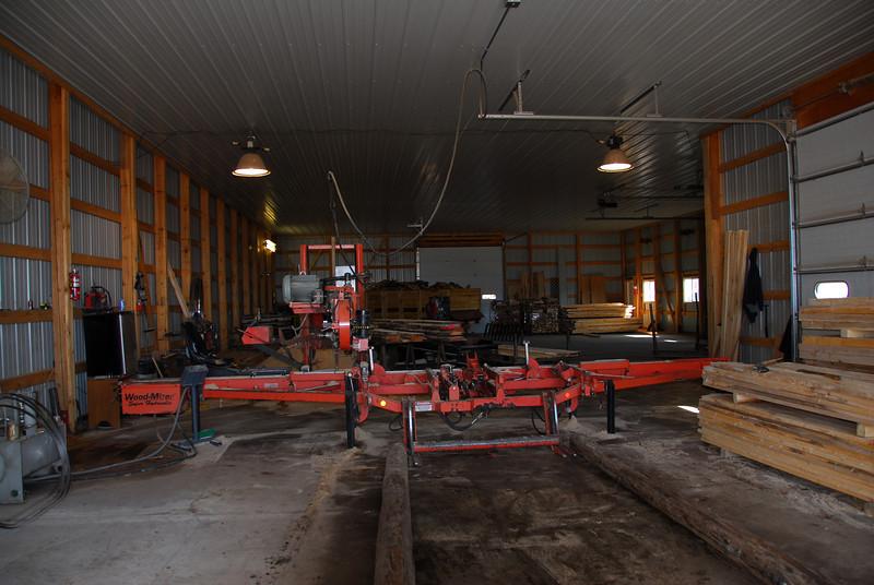 Inside lumber shop warehouse in Antigo, Wisconsin