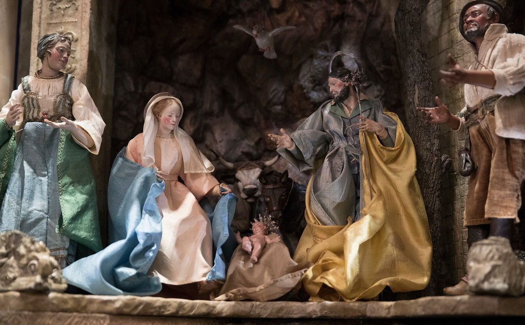. A detail of the baby Jesus is seen in a Nativity Scene in the East Room during a media preview of the 2017 holiday decorations at the White House in Washington, Monday, Nov. 27, 2017. (AP Photo/Carolyn Kaster)