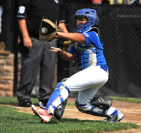 8/6/2018 Mike Orazzi   Staff' Keystone Little League's Gardner Fravel (10) during a loss to Mid Island New York during the 2018 Little League Eastern Regional Tournament at Breen Field in Bristol Monday morning.