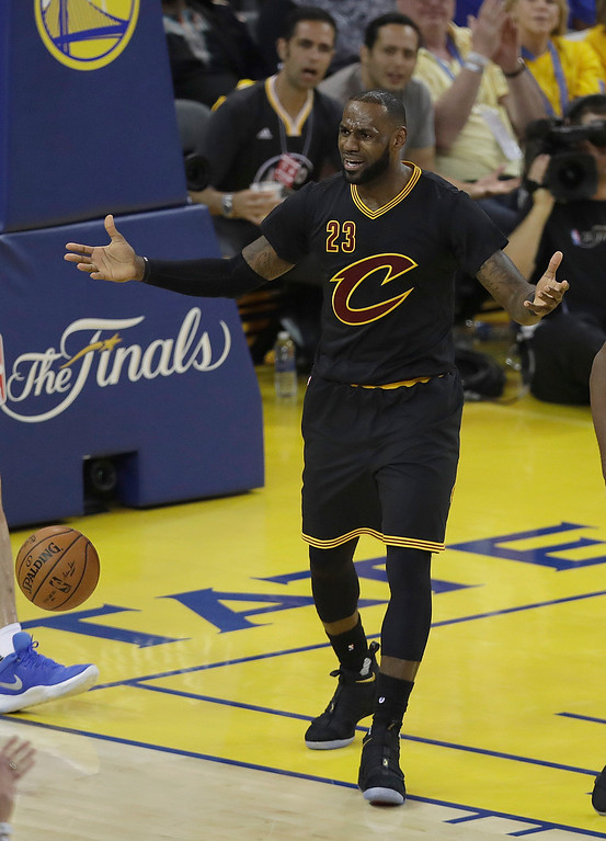 . Cleveland Cavaliers forward LeBron James (23) reacts during the first half of Game 2 of basketball\'s NBA Finals against the Golden State Warriors in Oakland, Calif., Sunday, June 4, 2017. (AP Photo/Marcio Jose Sanchez)