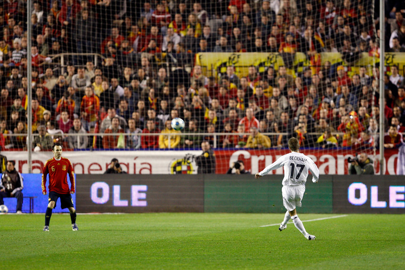 David Beckham performing a free kick. Taken during the friendly football game between the national teams of Spain and England that took place in the Sanchez Pizjuan stadium, Seville, Spain, 11 Feb 2009.