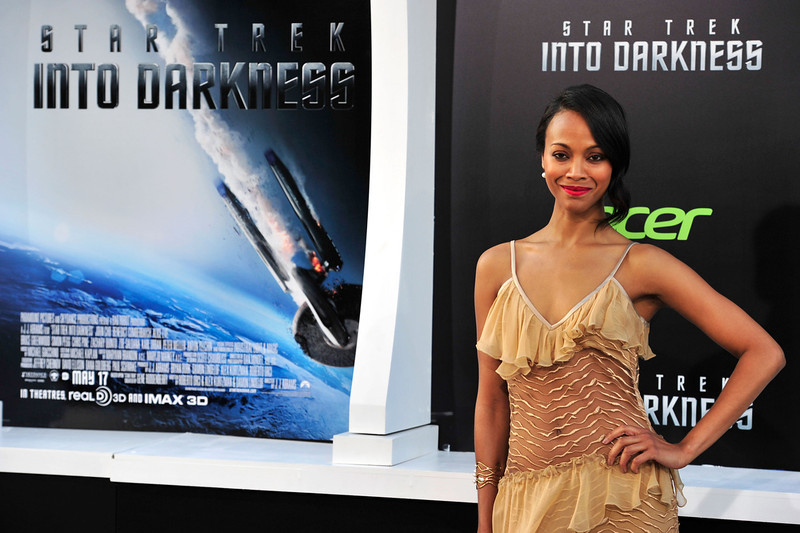 . Actress Zoe Saldana arrives at the premiere of Paramount Pictures\' \'Star Trek Into Darkness\' at the Dolby Theatre on May 14, 2013 in Hollywood, California.  (Photo by Frazer Harrison/Getty Images)