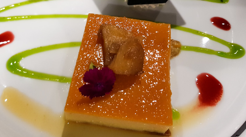 Flan dessert with fruits and nuts
