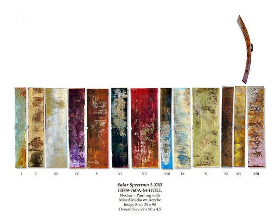 """Solar Spectrum I-XIII by Hollack, 29""""x90""""x4.5"""" painting with mixed media on acrylic"""