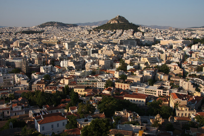 Modern Athens with Lycabetus Hill in the distance.