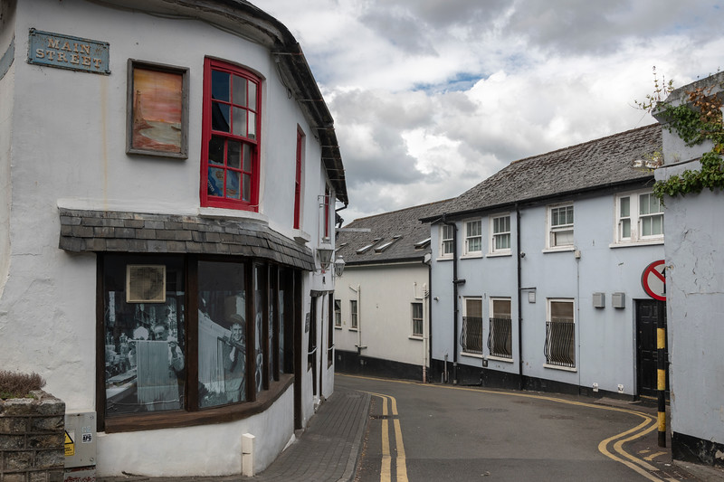 View of stores and old caf� along street, Kinsale, County Cork, Ireland