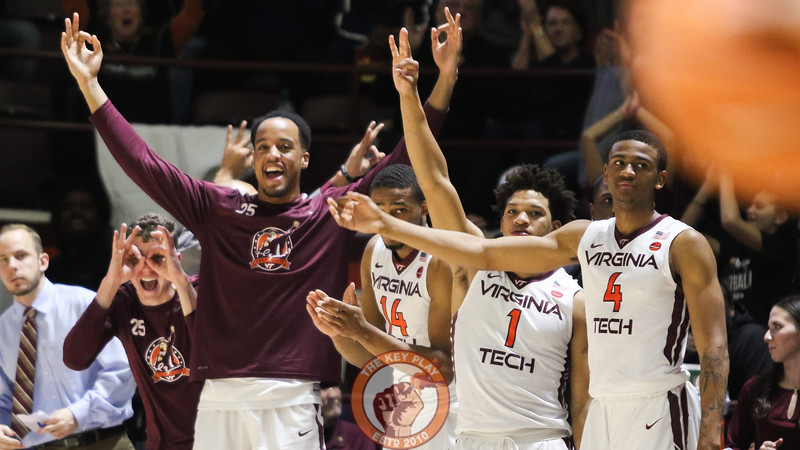 The Virginia Tech bench celebrates a three point shot in the first half. (Mark Umansky/TheKeyPlay.com)