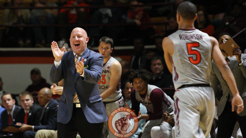 Head coach Buzz Williams shows his approval with the Hokies' play at the end of the first half. (Mark Umansky/TheKeyPlay.com)