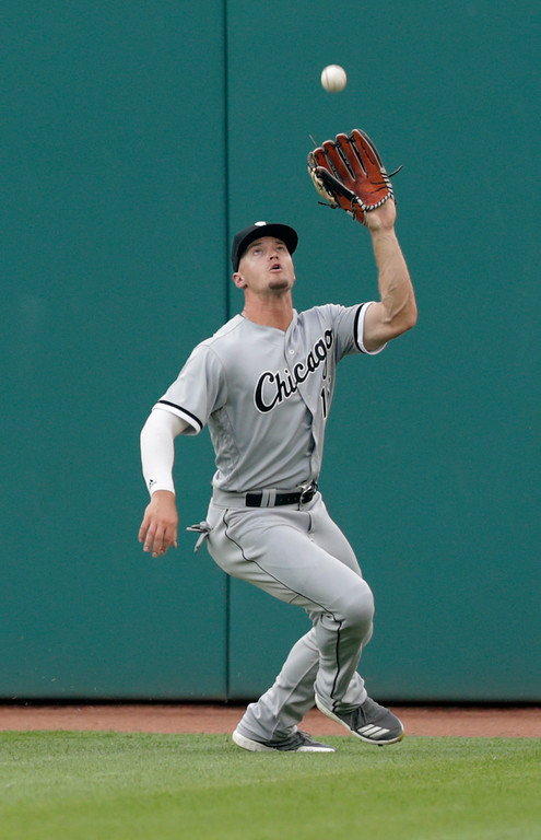 . Chicago White Sox\'s Adam Engel catches a ball hit by Cleveland Indians\' Michael Brantley in the second inning of a baseball game, Monday, June 18, 2018, in Cleveland. Brantley was out on the play. (AP Photo/Tony Dejak)