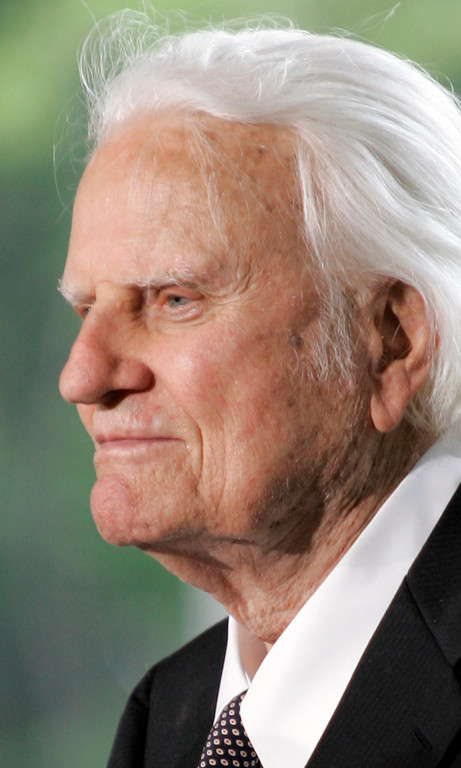. This May 31, 2007 file photo shows the Rev. Billy Graham during the dedication for the Billy Graham Library in Charlotte, N.C.  (AP Photo/Chuck Burton, File)