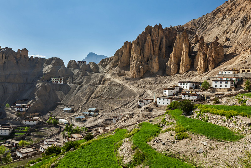 Dhankar village in Himalayas. Dhankar, Spiti valley, Himachal Pradesh, India