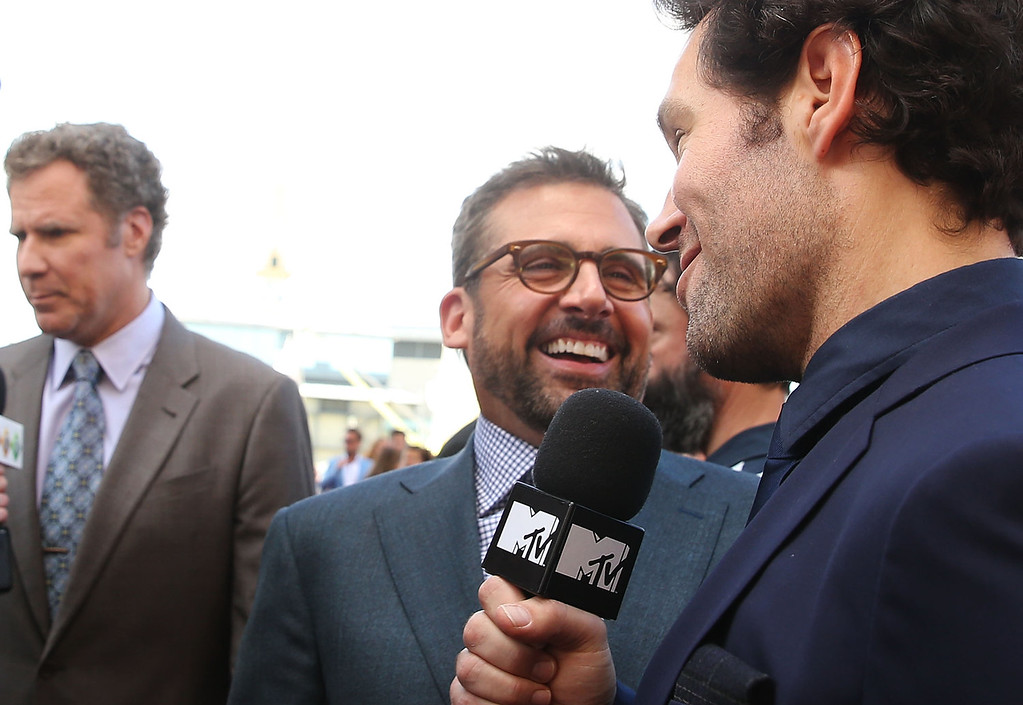 ". Paul Rudd and Steve Carell speak to the media at the ""Anchorman 2: The Legend Continues\"" Australian premiere on November 24, 2013 in Sydney, Australia.  (Photo by Mark Metcalfe/Getty Images for Paramount Pictures International)"