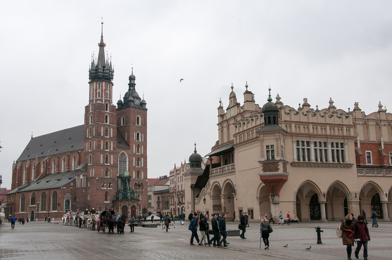 St. Mary's Church and Krakow Cloth Hall in Krakow, Poland