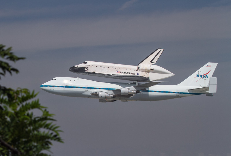 Space Shuttle Endeavor passes by LAX before its final landing.