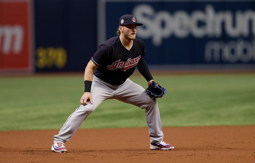 . Cleveland Indians third baseman Josh Donaldson during the first inning of a baseball game against the Tampa Bay Rays Tuesday, Sept. 11, 2018, in St. Petersburg, Fla. (AP Photo/Chris O\'Meara)
