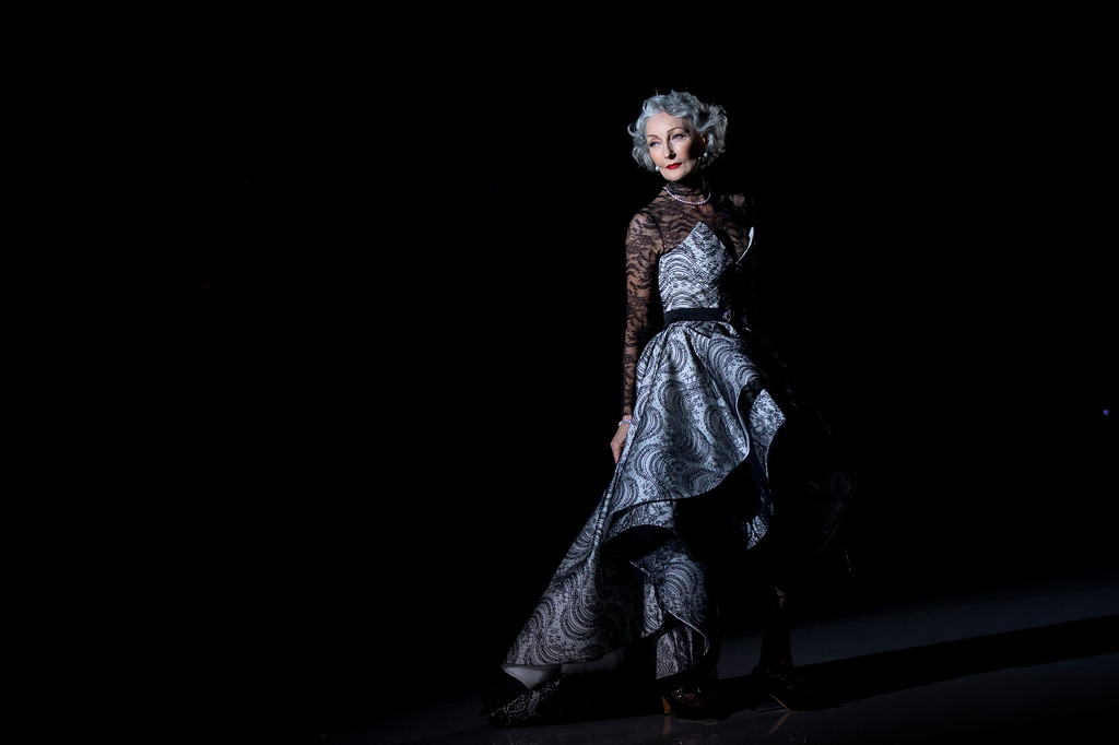 . A model displays a Autumn/Winter design by Andres Sarda during the young designers show at Madrid\'s Fashion Week in Madrid, Spain, Monday, Sept. 15, 2014. (AP Photo/Daniel Ochoa de Olza)