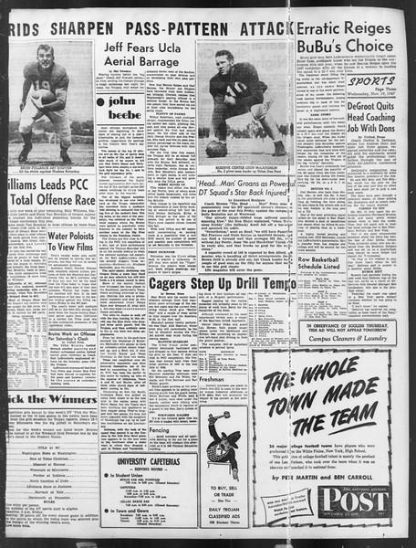 Daily Trojan, Vol. 39, No. 47, November 19, 1947