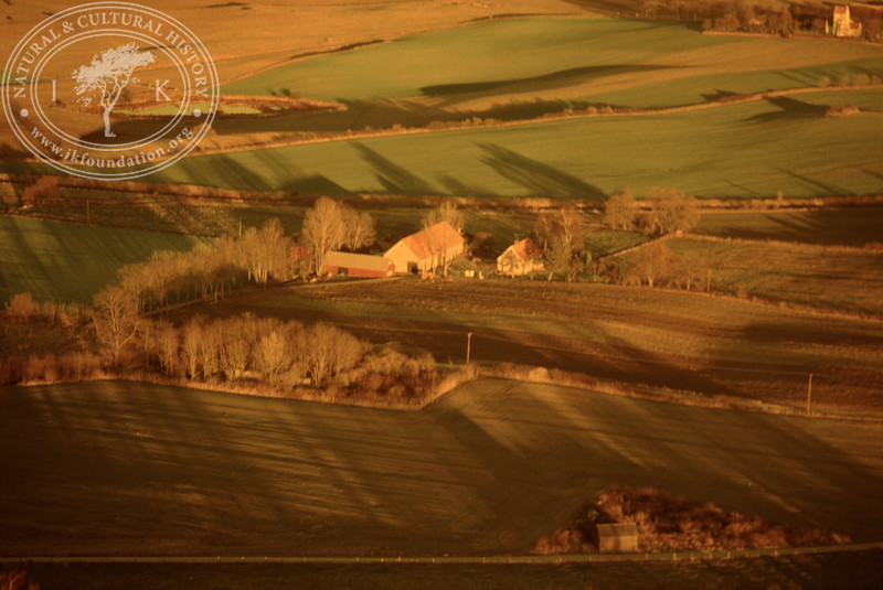 Farmland west of Ravlunda church - with plantations, buildings and prehistoric remains. Experimentally photographed with yellow filter (20 November, 1988). | LH.0266