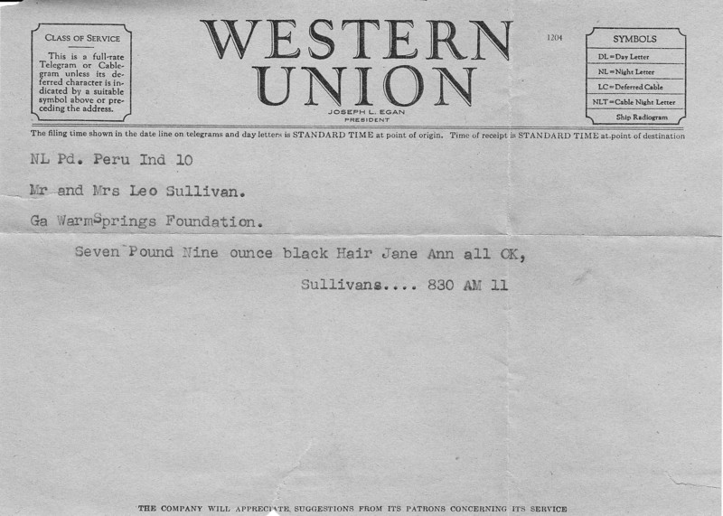 Western Union Telegram - Jane Sullivan's Birth Announcement - December 10, 1950.jpg
