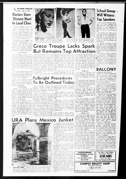 Summer Trojan, Vol. 11, No. 5, July 06, 1961