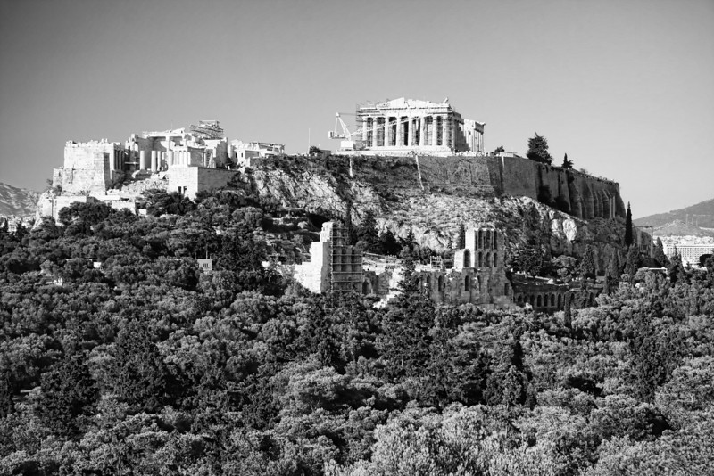 Citadel. The Acropolis rises majestically above the skyling of modern Athens.