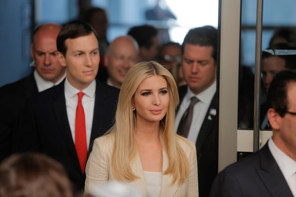 . U.S. President\'s daughter Ivanka Trump and Senior White House Advisor Jared Kushner, arrive for the opening ceremony of the new U.S. embassy in Jerusalem, Monday, May 14, 2018. Amid deadly clashes along the Israeli-Palestinian border, President Donald Trump\'s top aides and supporters on Monday celebrated the opening of the new U.S. Embassy in Jerusalem as a campaign promised fulfilled. (AP Photo/Sebastian Scheiner)