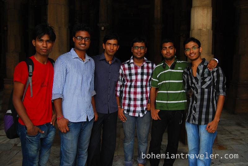 university students inside Jami Masjid Mosque (1423) Ahmeabad Gujarat India.jpg